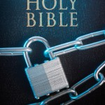 Bible closed with a chain lock on a close-up
