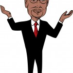 illustration showing neurosurgeon conservative figure and Republican 2016 presidential candidate Ben Carson with hands up on isolated background done in cartoon style.