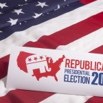 Republican Election Vote and American Flag