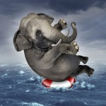 Surviving adversity and managing risk for big business challenges and uncertainty with a large elephant floating on a life preserver in a storm ocean background overcoming fear of loss for goal success.