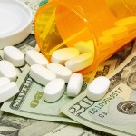 Prescription drugs on a money background representing rising health care costs