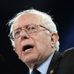 US Senator and Democratic Presidential Candidate Bernie Sanders speaks during a campaign rally at the Family Arena in Saint Charles, Missouri.