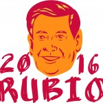 Save Download Preview Jan. 11, 2016: Illustration showing Marco Rubio an American senator politician and Republican 2016 presidential candidate crest with words Rubio 2016 done in retro sketch drawing style.