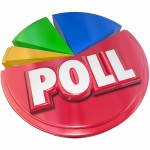 Poll word in red 3d letters on a pie chart to illustrate opinion