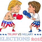 Illustration showing as a boxer Republican Donald Trump versus Democrat Hillary Clinton in a boxing match with words Election 2016 done in cartoon style.