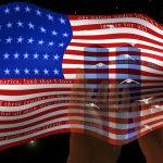 Twin Towers superimposed on usa flag